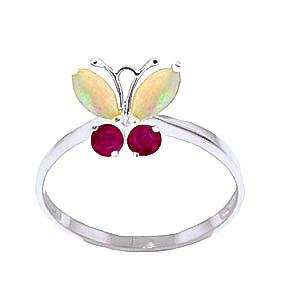 Bargain Opal and Ruby Butterfly Ring 0.7ctw in 9ct White Gold Stockists