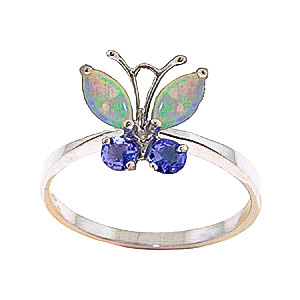 Bargain Opal and Tanzanite Butterfly Ring 0.7ctw in 9ct Rose Gold Stockists