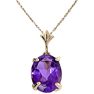 Bargain Oval Cut Amethyst Pendant Necklace 3.12ct in 9ct Gold Stockists