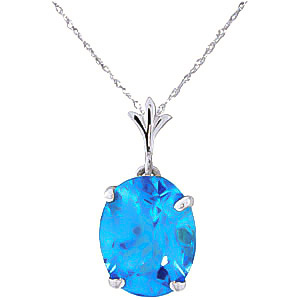 Bargain Oval Cut Blue Topaz Pendant Necklace 3.12ct in 9ct White Gold Stockists