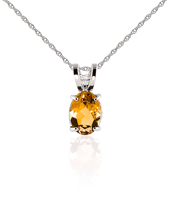 Bargain Oval Cut Citrine Pendant Necklace 0.85ct in 9ct White Gold Stockists