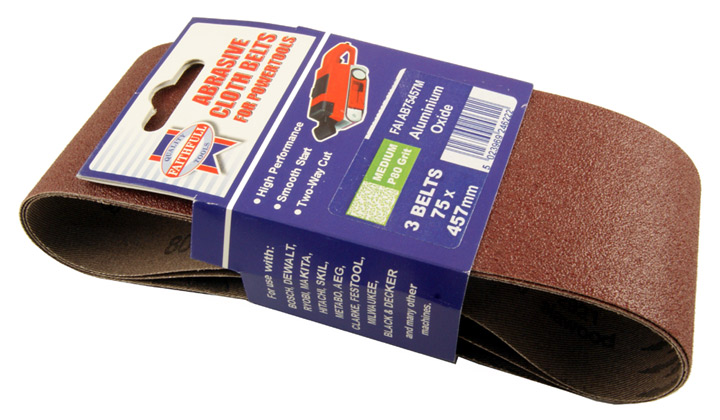 Stockists of Pack of 3 Cloth Sanding Belts 457x75mm