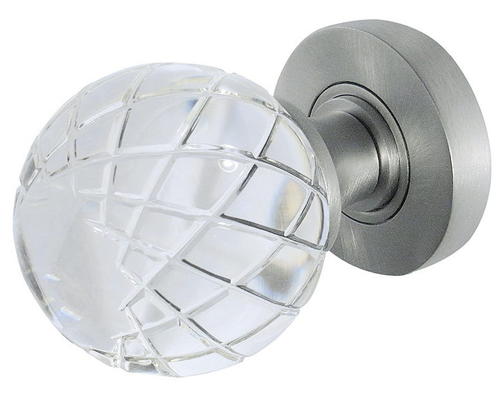 Stockists of Palma Clear Glass Round Door Knobs 58mm