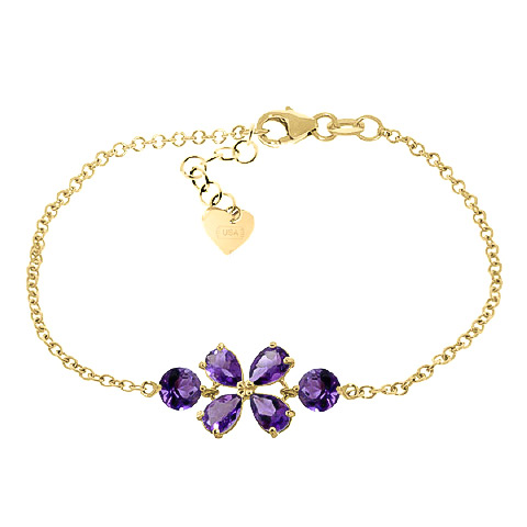 Bargain Pear Cut Amethyst Adjustable Bracelet 3.15ctw in 9ct Gold Stockists