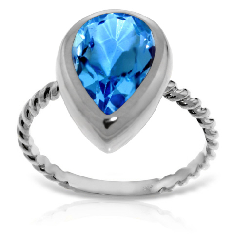 Bargain Pear Cut Blue Topaz Ring 4.0ct in 9ct White Gold Stockists