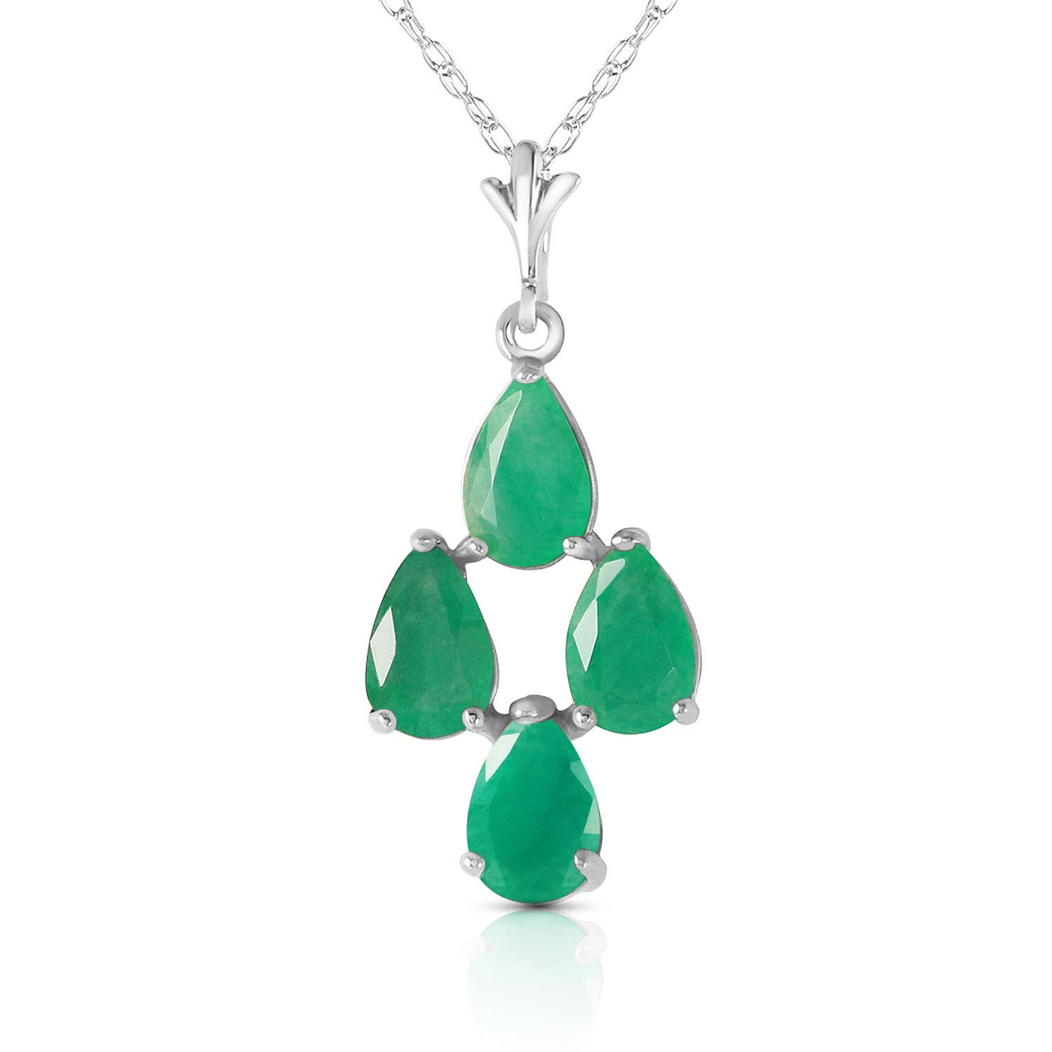 Bargain Pear Cut Emerald Pendant Necklace 1.5ctw in 9ct White Gold Stockists