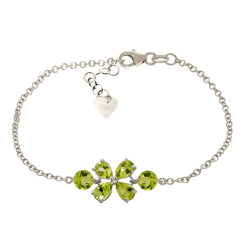 Bargain Pear Cut Peridot Adjustable Bracelet 3.15ctw in 9ct White Gold Stockists