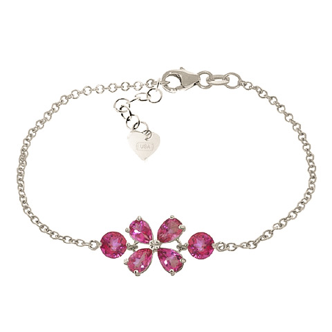 Bargain Pear Cut Pink Topaz Adjustable Bracelet 3.15ctw in 9ct White Gold Stockists