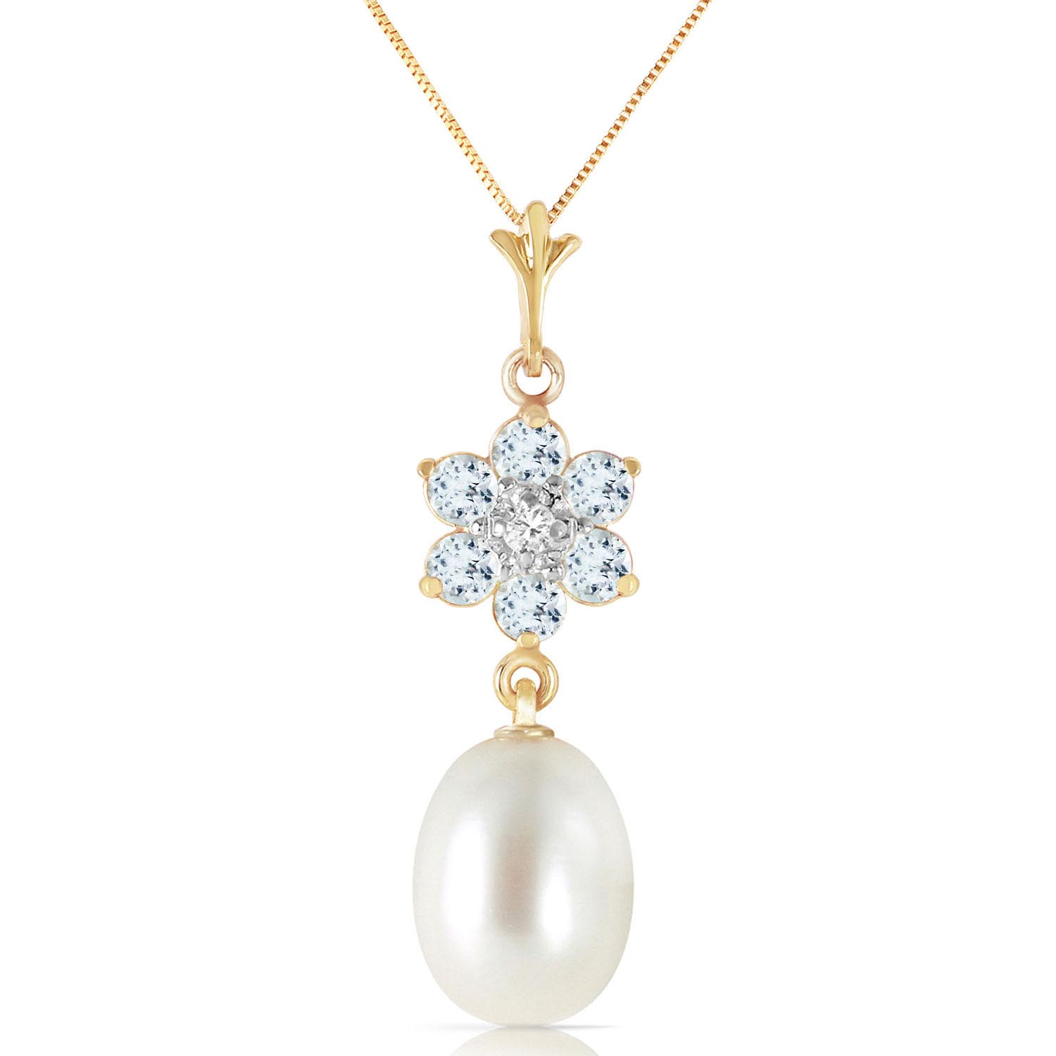 Bargain Pearl, Aquamarine and Diamond Daisy Pendant Necklace 4.5ctw in 9ct Gold Stockists