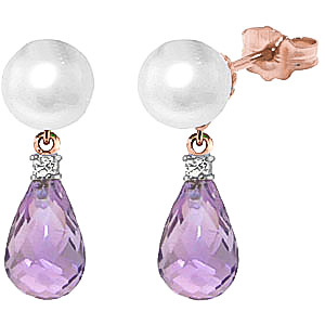 Bargain Pearl, Diamond and Amethyst Stud Earrings 6.5ctw in 9ct Rose Gold Stockists