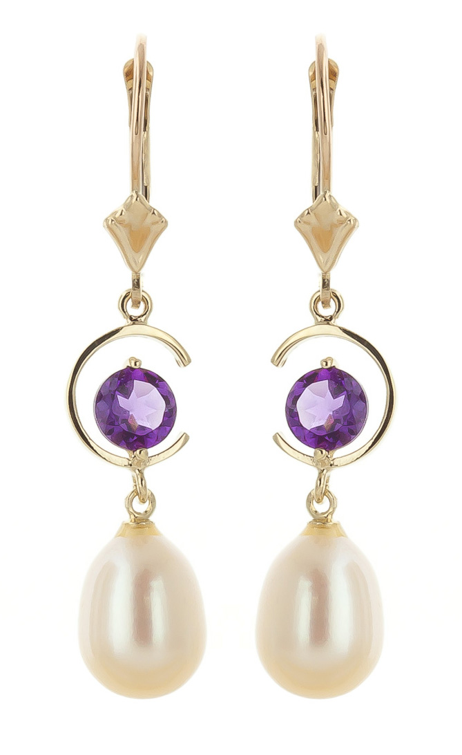 Bargain Pearl and Amethyst Drop Earrings 9.0ctw in 9ct Gold Stockists