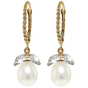 Bargain Pearl and Aquamarine Snowdrop Twist Earrings 9.0ctw in 9ct Gold Stockists