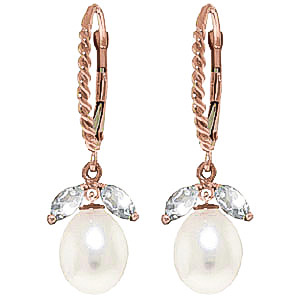 Bargain Pearl and Aquamarine Snowdrop Twist Earrings 9.0ctw in 9ct Rose Gold Stockists