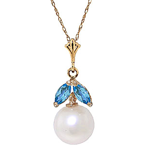 Bargain Pearl and Blue Topaz Snowdrop Pendant Necklace 2.2ctw in 9ct Gold Stockists