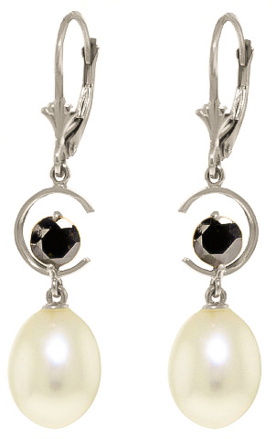Bargain Pearl and Diamond Drop Earrings 8.0ctw in 9ct White Gold Stockists