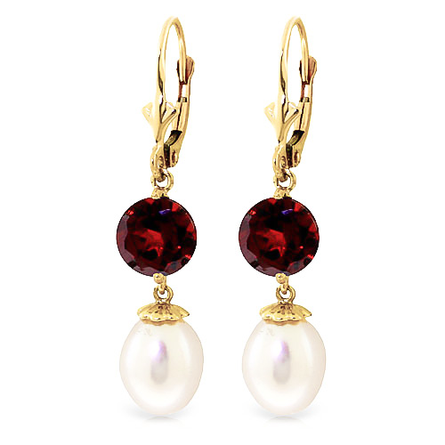 Bargain Pearl and Garnet Droplet Earrings 11.1ctw in 9ct Gold Stockists