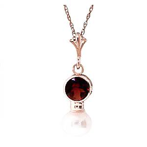 Bargain Pearl and Garnet Pendant Necklace 1.23ctw in 9ct Rose Gold Stockists