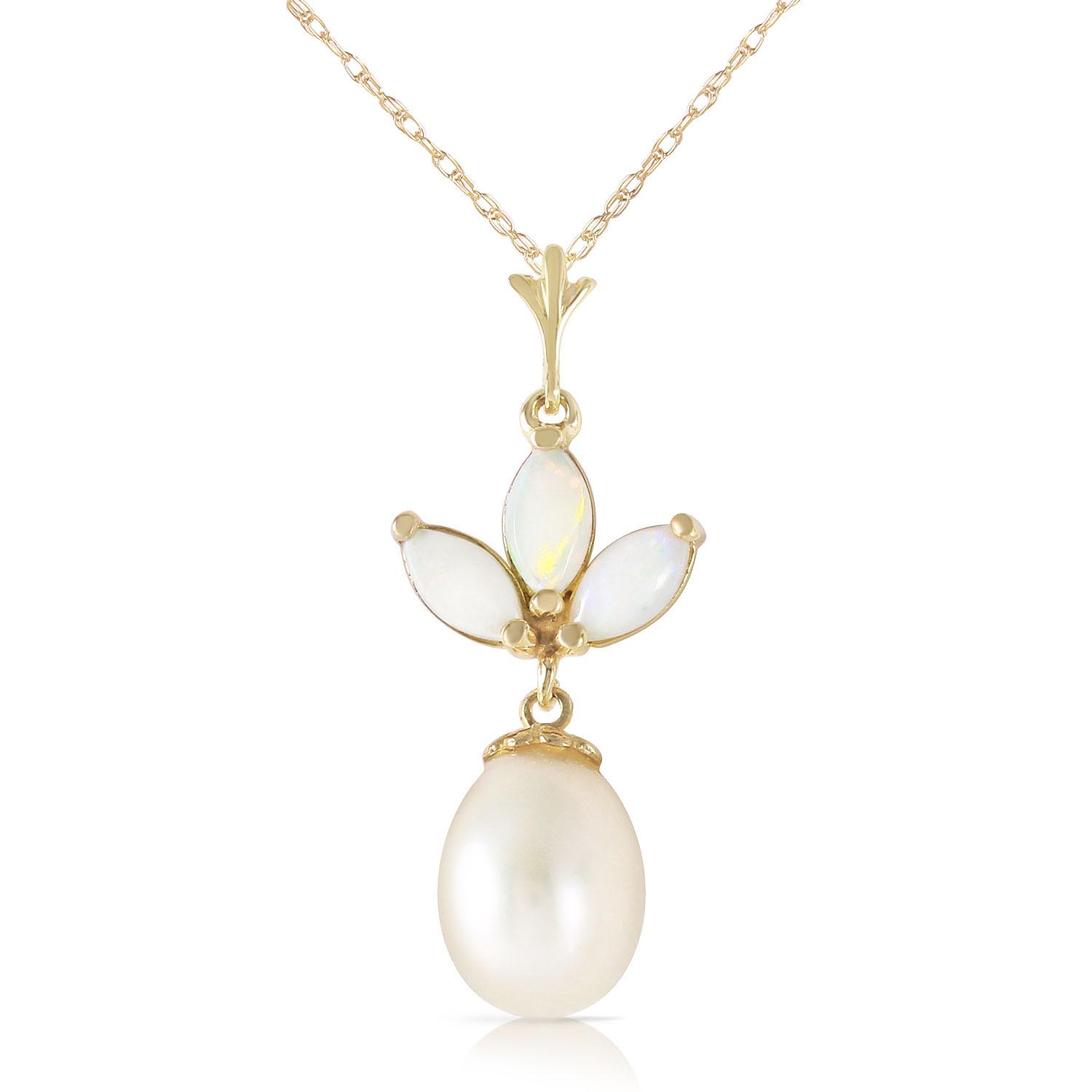 Bargain Pearl and Opal Petal Pendant Necklace 4.75ctw in 9ct Gold Stockists