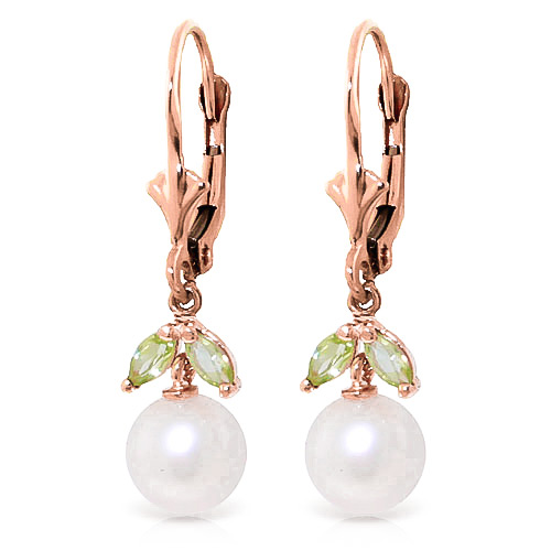 Bargain Pearl and Peridot Dewdrop Earrings 4.4ctw in 9ct Rose Gold Stockists