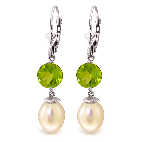 Bargain Pearl and Peridot Droplet Earrings 11.1ctw in 9ct White Gold Stockists