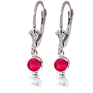 Bargain Pearl and Ruby Drop Earrings 2.7ctw in 9ct White Gold Stockists