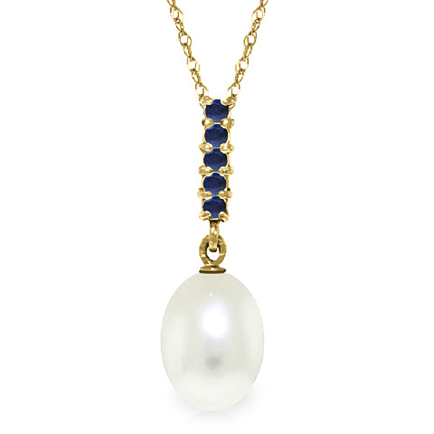 Bargain Pearl and Sapphire Pendant Necklace 4.2ctw in 9ct Gold Stockists