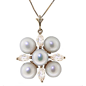 Bargain Pearl and White Topaz Pendant Necklace 6.3ctw in 9ct Gold Stockists