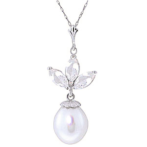 Bargain Pearl and White Topaz Petal Pendant Necklace 4.75ctw in 9ct White Gold Stockists