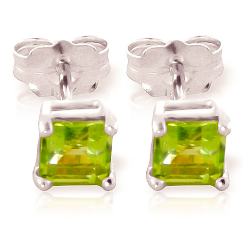 Bargain Peridot Alexandra Stud Earrings 0.75ctw in 9ct White Gold Stockists