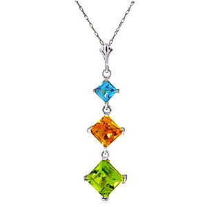 Bargain Peridot, Blue Topaz and Citrine Three Stone Pendant Necklace 2.4ctw in 9ct White Gold Stockists
