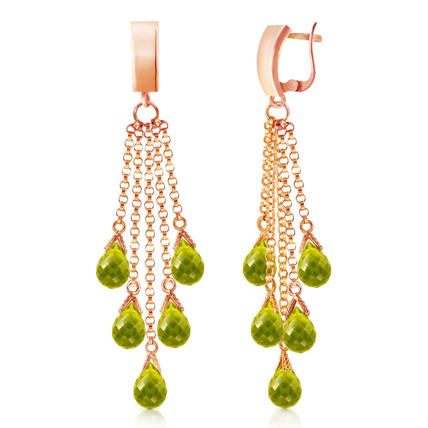 Bargain Peridot Droplet Briolette Earrings 7.3ctw in 9ct Rose Gold Stockists
