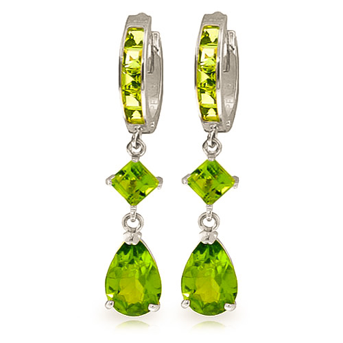Bargain Peridot Droplet Huggie Earrings 5.62ctw in 9ct White Gold Stockists