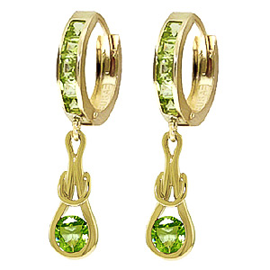 Bargain Peridot Loop Knot Huggie Earrings 1.0ctw in 9ct Gold Stockists