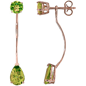Bargain Peridot Lure Drop Earrings 4.2ctw in 9ct Rose Gold Stockists