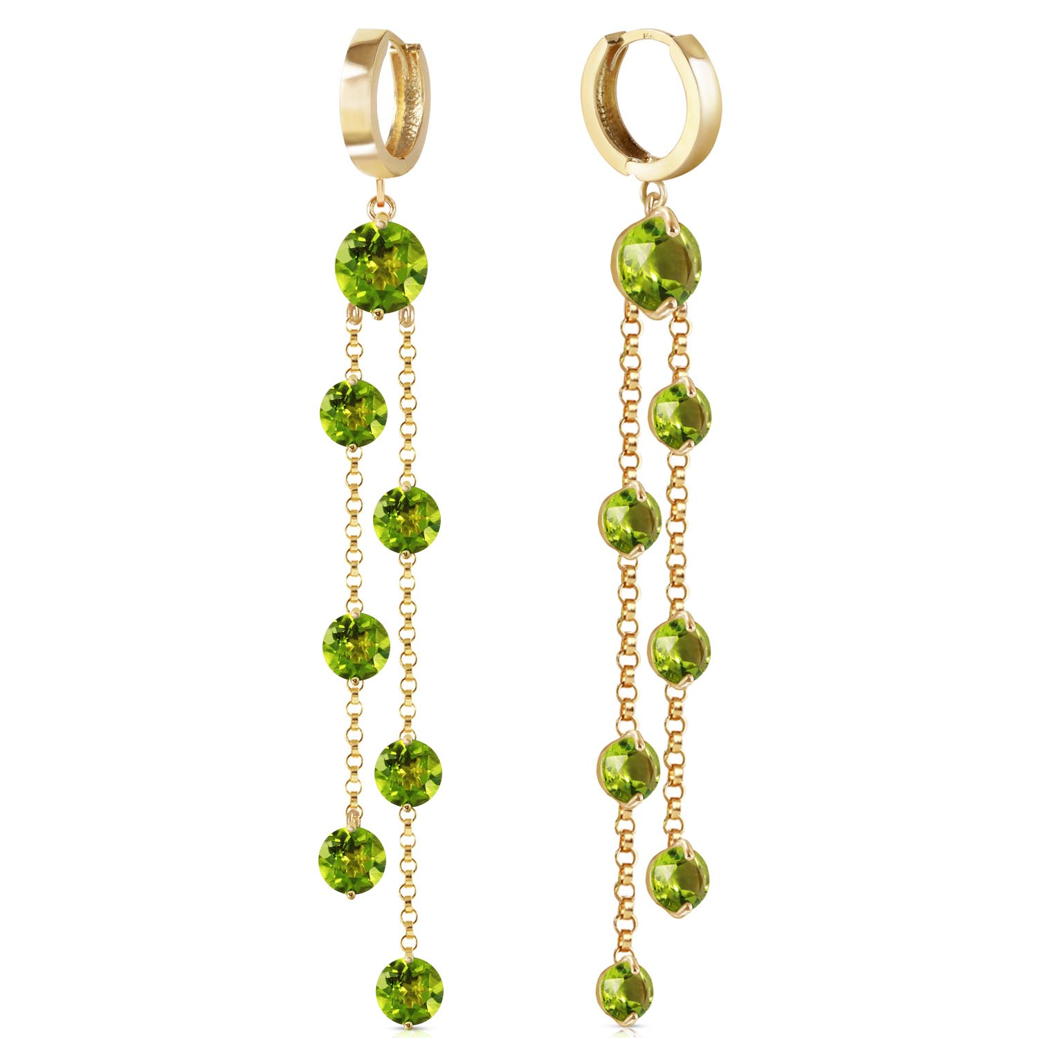 Bargain Peridot Roman Drop Earrings 9.02ctw in 9ct Gold Stockists