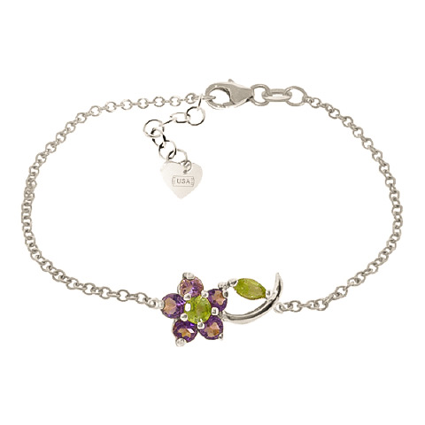 Bargain Peridot and Amethyst Adjustable Flower Petal Bracelet 0.87ctw in 9ct White Gold Stockists
