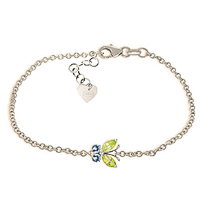 Bargain Peridot and Blue Topaz Adjustable Butterfly Bracelet 0.6ctw in 9ct White Gold Stockists