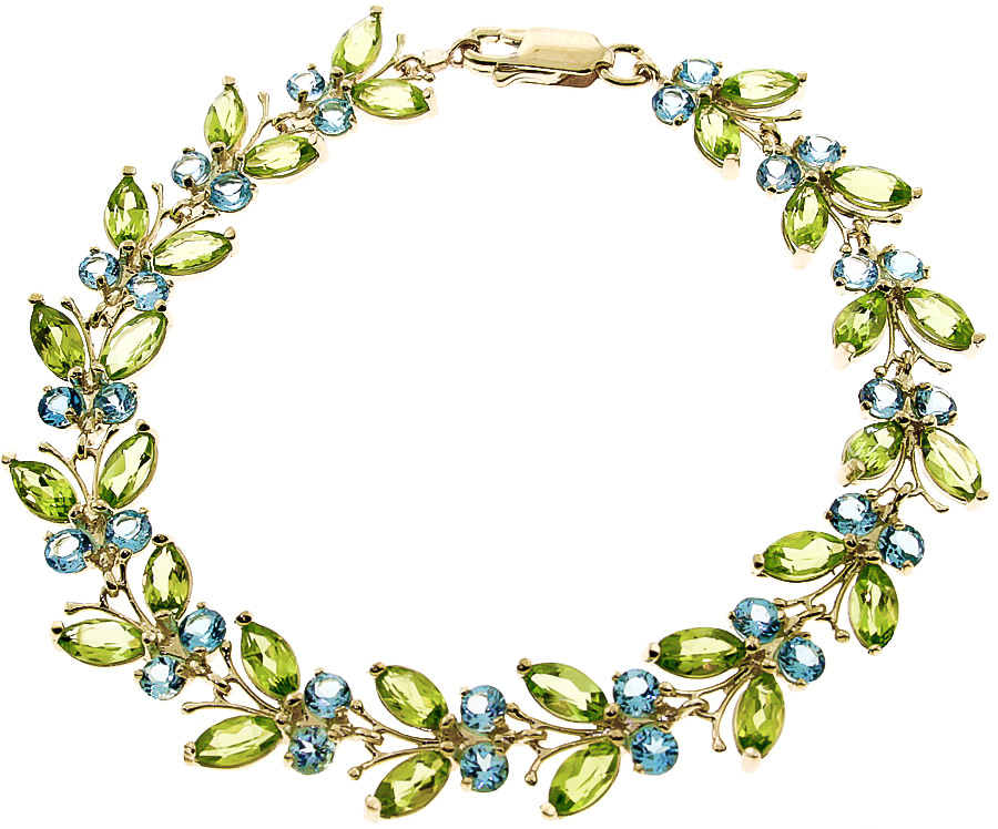 Bargain Peridot and Blue Topaz Butterfly Bracelet 16.5ctw in 9ct Gold Stockists