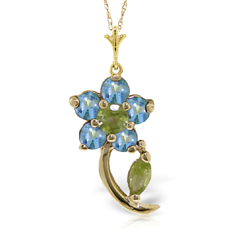 Bargain Peridot and Blue Topaz Flower Petal Pendant Necklace 0.87ctw in 9ct Gold Stockists