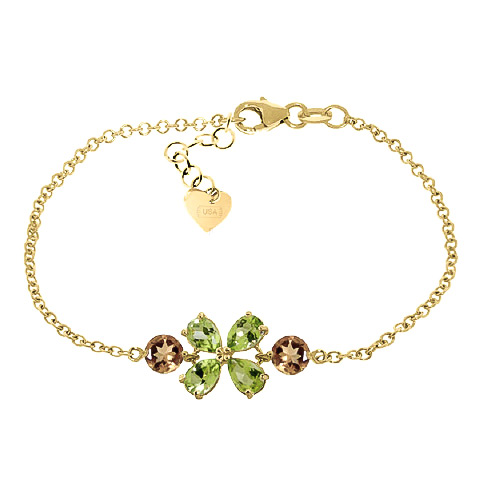 Bargain Peridot and Citrine Adjustable Bracelet 3.15ctw in 9ct Gold Stockists