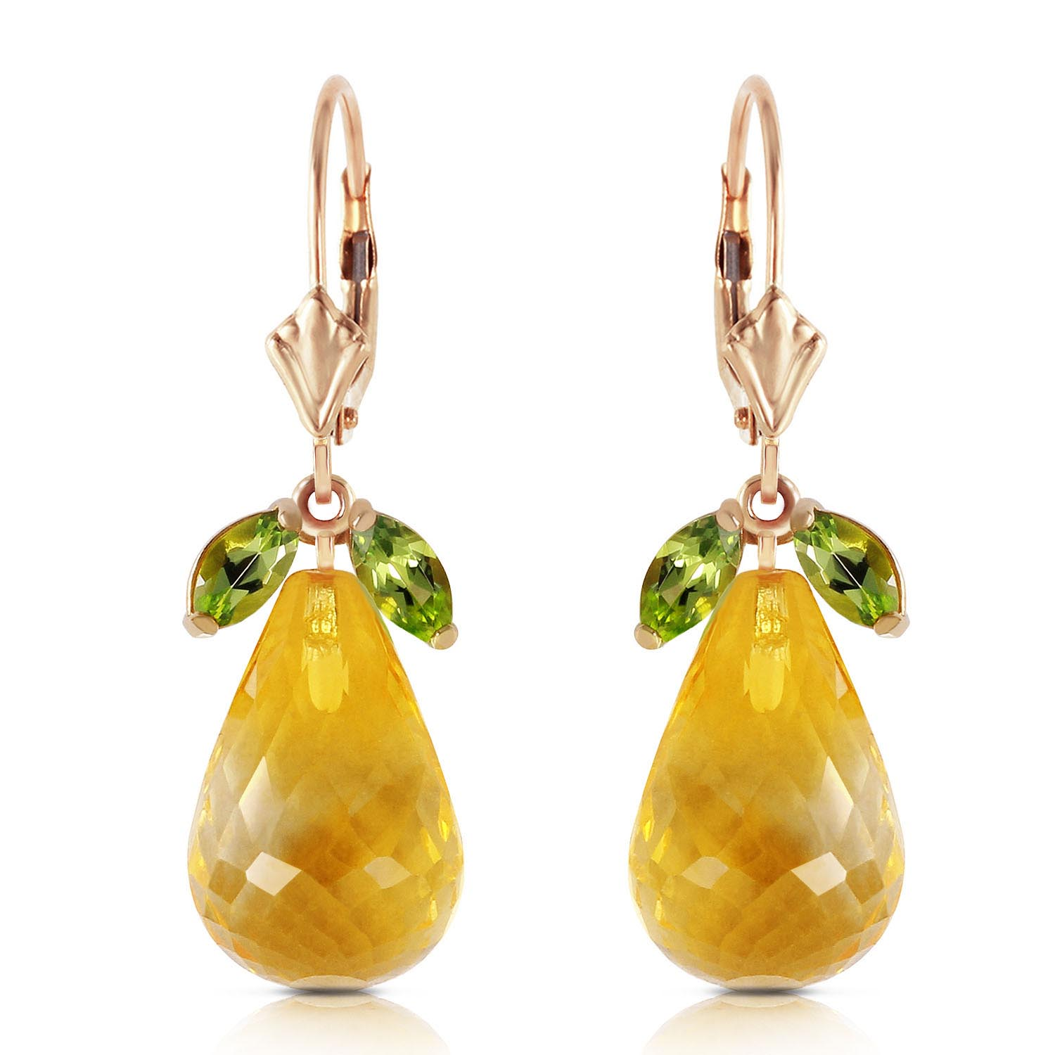 Bargain Peridot and Citrine Drop Earrings 14.4ctw in 9ct Gold Stockists
