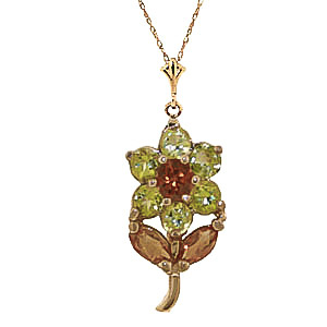 Bargain Peridot and Citrine Flower Petal Pendant Necklace 1.06ctw in 9ct Gold Stockists