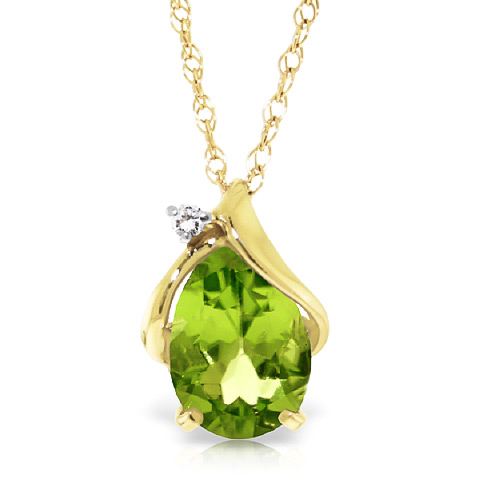 Bargain Peridot and Diamond Pendant Necklace 2.1ct in 9ct Gold Stockists