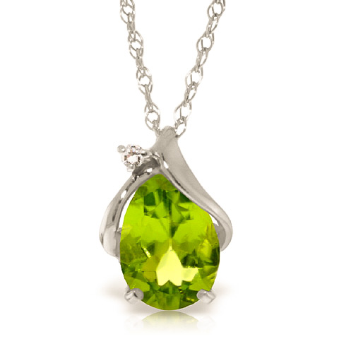 Bargain Peridot and Diamond Pendant Necklace 2.1ct in 9ct White Gold Stockists