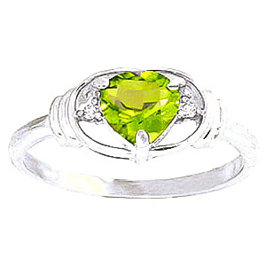 Bargain Peridot and Diamond Ring 0.6ct in 9ct White Gold Stockists