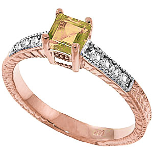 Bargain Peridot and Diamond Shoulder Set Ring 0.5ct in 9ct Rose Gold Stockists
