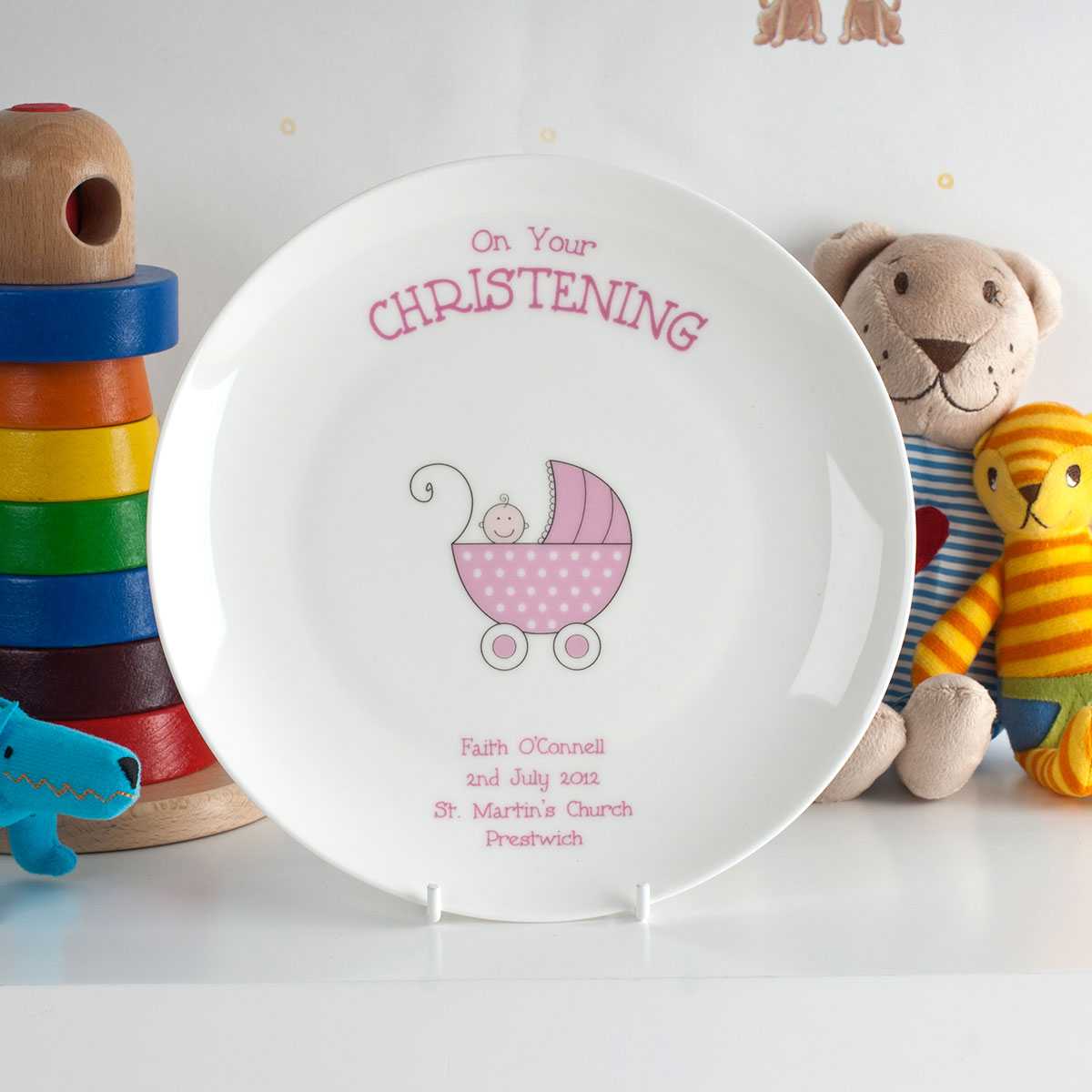 Bargain Personalised Bone China Plate - Pink Christening Pram Stockists