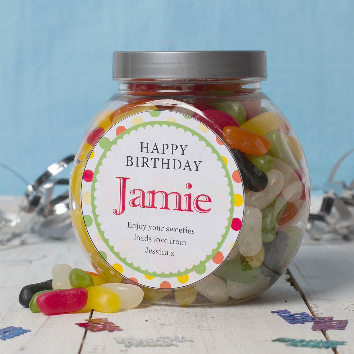 Bargain Personalised Jelly Beans Jar - Happy Birthday Spots Stockists