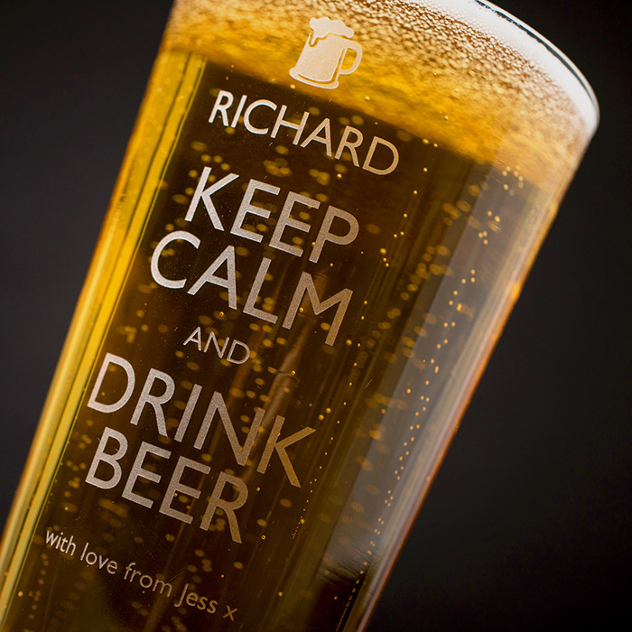 Bargain Personalised Pint Glass - Keep Calm & Drink Beer Stockists