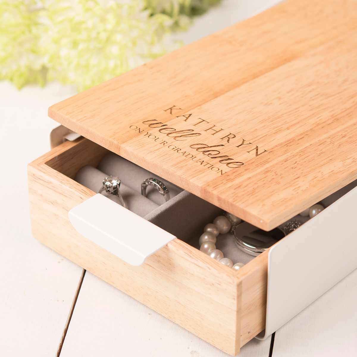 Bargain Personalised Reflexion Jewellery Box - Well Done On Your Graduation Stockists